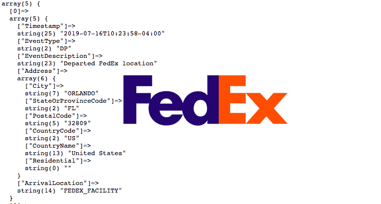Fedex tracking info returned after enabling detailed scans.