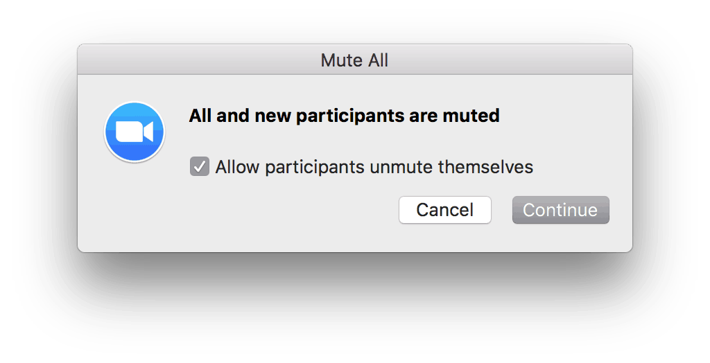 "Zoom ""Allow participants to unmute themselves"" setting."