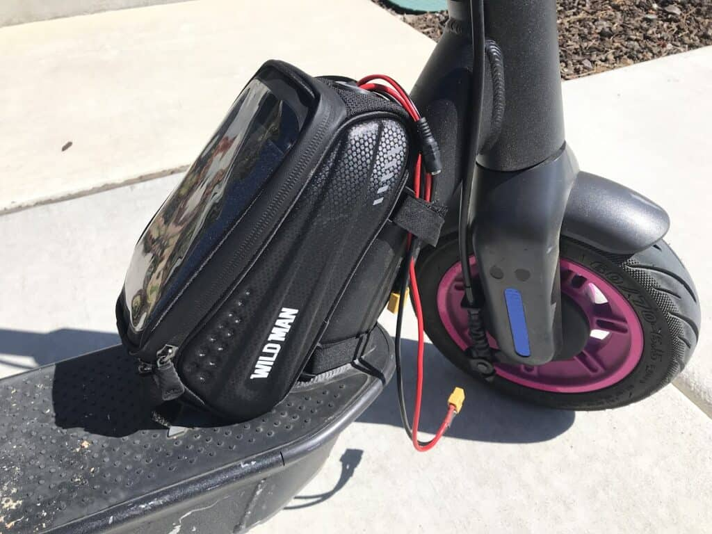 Close up of the battery bag.