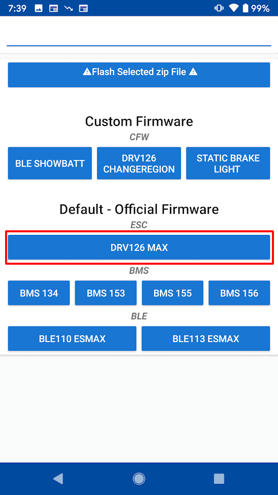 The available version numbers for ESC/DRV, BMS, and BLE.
